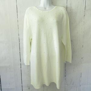 J Jill Sweater Faux Pearl Keyhole Textured Tunic